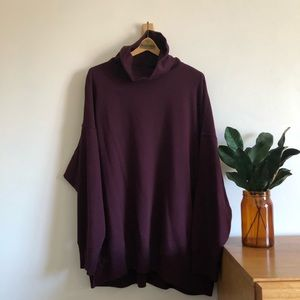 Aerie Turtleneck Sweatshirt Deep Plum